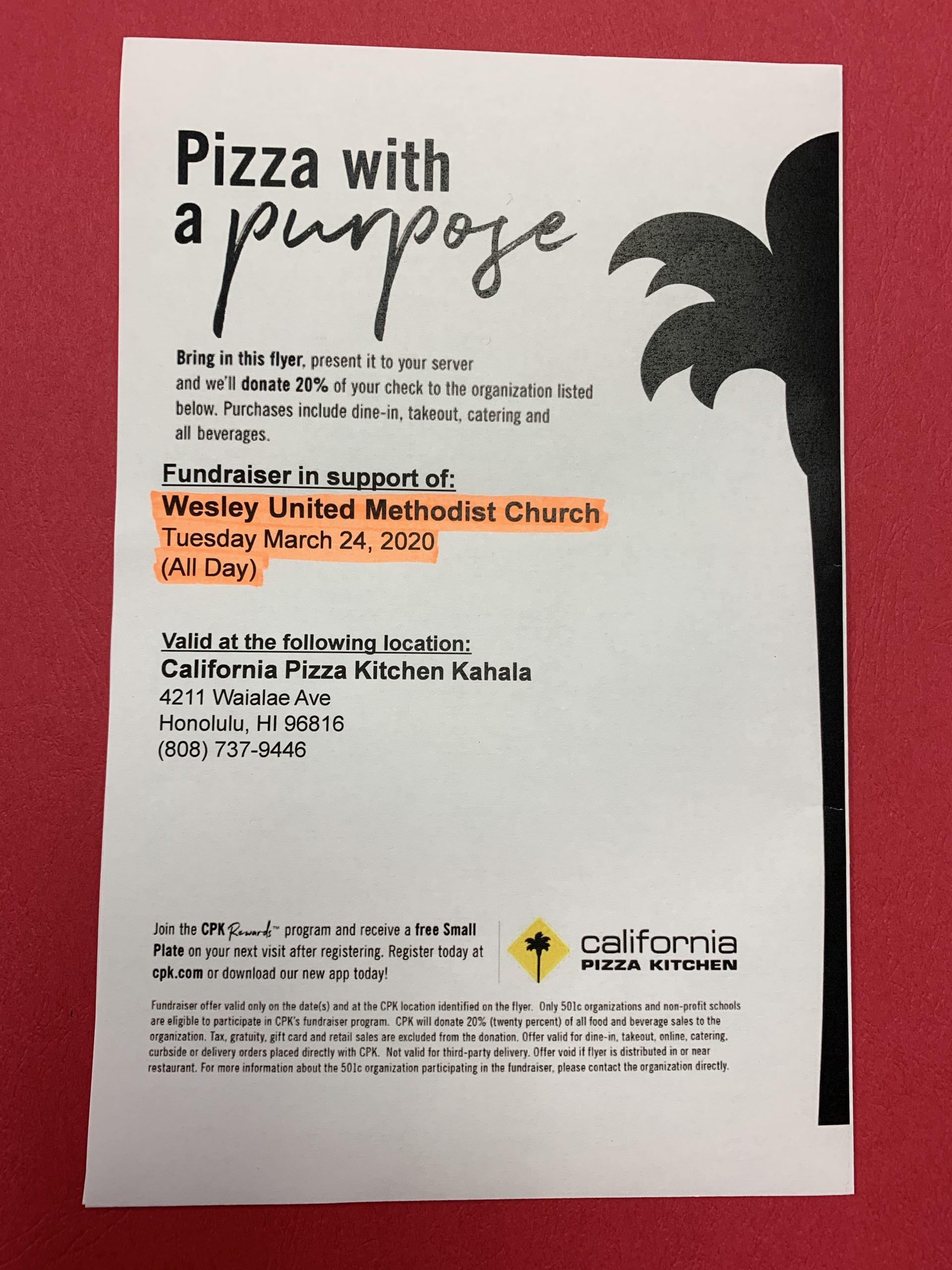 California Pizza Kitchen Fundraising Event
